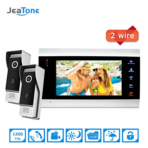 Jeatone 7 inch Video Intercom 720P/AHD Video Door Phone Security System Voice Message/Motion Detection + 2 Video Doorbell Intercom System