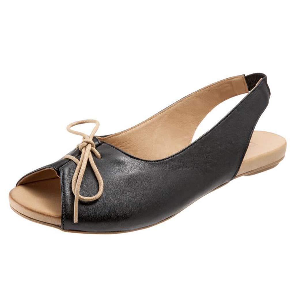 Hemlock Women Office Work Sandals Peel Toe Sandals Fashion Lace-up Shoes Comfortable Flat Sandals Black