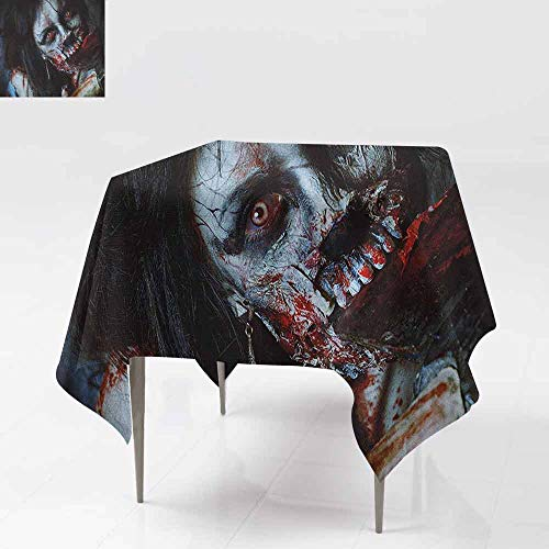 AndyTours Waterproof Table Cover,Zombie,Scary Dead Woman with a Bloody Axe Evil Fantasy Gothic Mystery Halloween Picture,Party Decorations Table Cover Cloth,60x60 Inch Multicolor for $<!--$33.87-->