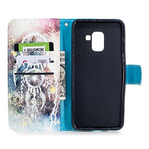 Samsung Galaxy A8 Plus 2018 Funda piel, Vandot Bonito Pintura Caja de Cuero de la PU 3D Lindo Patrón de Conejo Soporte Plegable Magnética Folio Carcasa Suave Silicona Flip Piel Bumper Protector Tapa C 3DCH-10