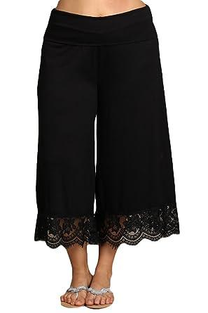 0be7a05dd0cf HEYHUN Women s Solid Wide Leg Flared Capri Boho Gaucho Pants w Lace Detail  - Black