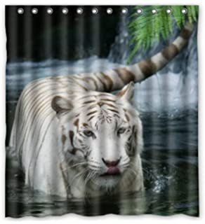 Outlet Seller Custom Handsome White Tiger In The Water Waterproof Bathroom Fabric Shower Curtain 66