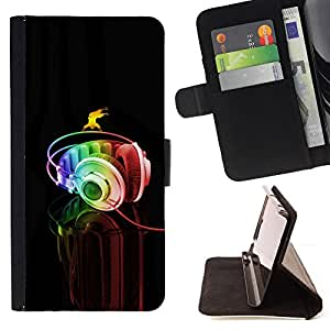 Jordan Colourful Shop - headphones colorful music art rainbow dance For Samsung Galaxy S6 - < Leather Case Absorci????n cubierta de la caja de alto impacto > -