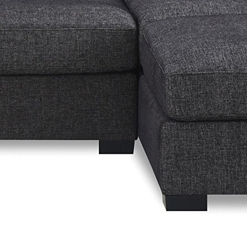 Bobkona Benford 2-Piece Chaise Loveseat Sectional Sofa Collection with Faux Linen, Ash Black