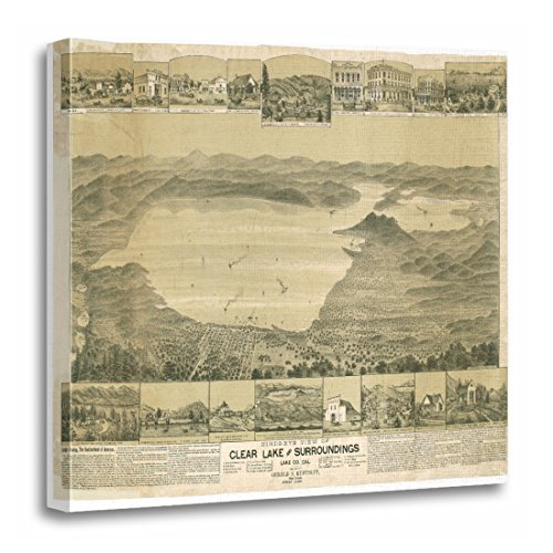 California Ca Panoramic Map - TORASS Canvas Wall Art Print Views Clear Lake Ca Panoramic Map California Artwork for Home Decor 20