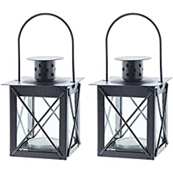 Set of 2 Fashion Craft Tea-Light Candle Holder Lanterns