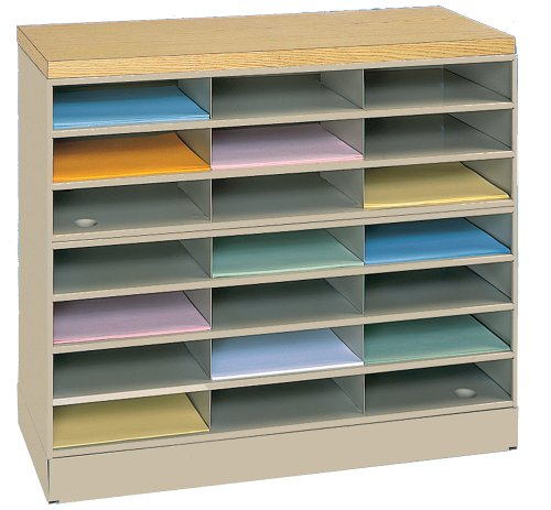 Durham 464-75 Tan Cold Rolled Steel Horizontal Literature/Mail Organizer Rack, 33-13/16