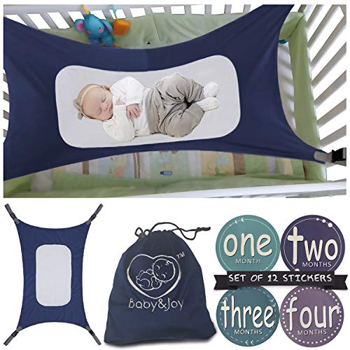 (Baby Hammock for Crib - Mimics Mother's Womb - Infant Safety Hammock - Heavy Duty & Adjustable Straps - Ultra Soft Fabric with Reinforced Net, Newborn Infant Nursery Bed by Baby&Joy (Navy Blue))