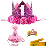 2 Pcs Adorable Cute Crown Shaped Cat Dog Pet 1 Year Birthday Headband and Pink Star Hair Head Bands Accessories for Dogs Cats Pets (Rose Red)