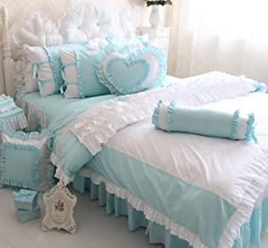 fadfay home textile korean white ruffle bedding sets beautiful ruffls princess