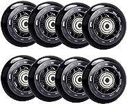 Bzocio 8 Pack Inline Skate Wheels, Indoor/Outdoor Roller Skate Wheels, Roller Blade Replacement Wheels with Be