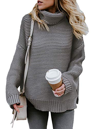 Asvivid Womens Turtle Neck Long Sleeve Chunky Cotton Knit Pullover Sweater Plus Size 1X Grey