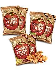 Tomaten Gemüse Chips 6er Set (6x 30g) aus getrockneten Tomaten I Leicht, knusprig und knackiger Snack mit leckerer Würzung in 3 Geschmacksrichtungen I Vegan, Gluetenfrei Low Carb
