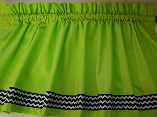 Cheap Lime with Black and White Chevron Border Valance Curtain Window Treatment