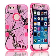 "iPhone 6s Plus Case, MIMICat® Pink Realtree Camouflage Camo Hybrid Hard Soft Case Cover for iPhone 6 Plus / 6s Plus 5.5"" (Hot pink)"