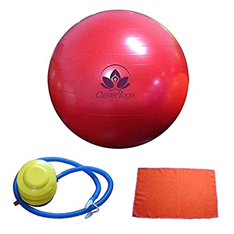 """Clever Yoga Fitness Ball With FREE Exercise Hand Towel and Foot Pump – Comes With Our Special """"Namaste"""" (Red, - Adjustable Height Power Pedestal"""