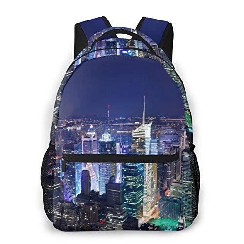 Lightweight Polyester Rucksacks New York City Skyline Print Traveling & Camping Backpack - Large Capacity Anti-Theft Multipurpose Shoulder Bag for Men Women Girls Boys