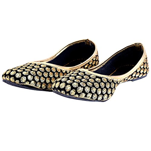 Jaipuri Velvet (Indian Handicrafts Export Women Zari Work Black Velvet Jaipuri Ballerina Sandals)