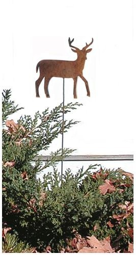 Village Wrought Iron 35 Inch Deer Rusted Garden Stake