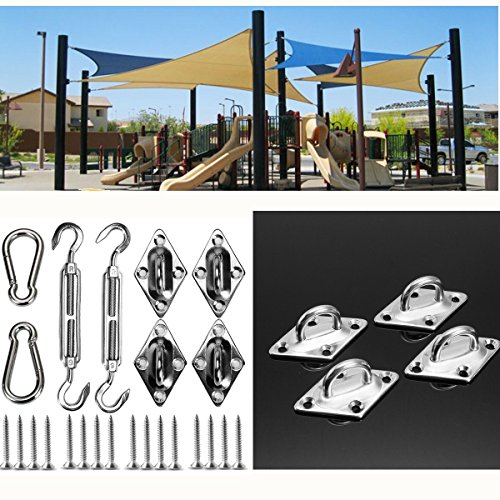 HAPYLY 8Pcs Stainless Steel Heavy Duty Sun Shade Sail Fixing Accessories Hardware Kit Canopy Fixing Fittings Kit Deck Garden Lawn Patio by HAPYLY