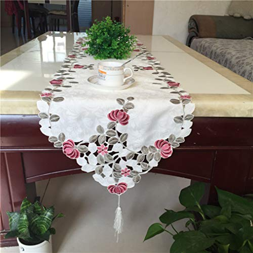 SYHK Embroidery Table Runner for Home Wedding Decoration Christmas Mantel Tablecloth Placemat Towel