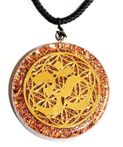 OM & Flower of Life Orgone Pendant Generator Energy Accumulator EMF protection 2.25 inch (Metal Resin)