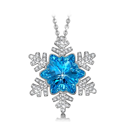 Birthday Gift for Her Girl Daughter Necklace Fine Jewelry NINASUN Frozen s925 Sterling Silver Necklace Pendant Swarovski Crystal Snowflake Jewelry Mothers Day Gift from for Women Mom Grandma Blue (Silver Frozen Sterling Jewelry)