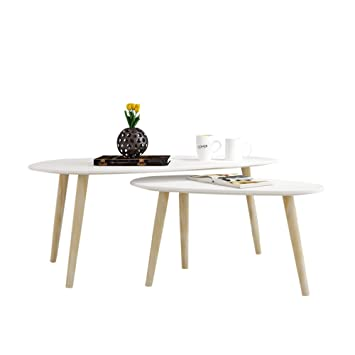 EASE 2x Beistelltisch, Beistelltisch weiß,Holz,weiß Couchtisch rund ...