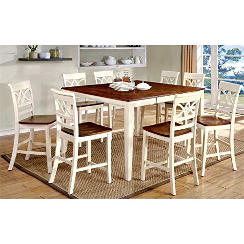 Furniture of America Cherrine Country Style Pub Dining Table, Oak/Vintage White (Expandable Pub Chairs Table With)