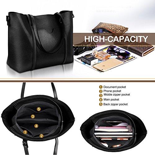 Women Top Handle Satchel Handbags Shoulder Bag Tote Purse Greased Leather Iukio (Black) by IUKIO (Image #4)