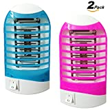 Natural Bug Zapper Electronic Mosquito Killer Lamp, 2 Pack Insect Killer, Eliminates Flying Pests,Mosquito Trap, Night Lamp (Red & Blue)