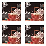 Ambesonne Movie Theater Coaster Set of Four, Objects of the Film Industry Hollywood Motion Picture Cinematography Concept, Square Hardboard Gloss Coasters for Drinks, Multicolor
