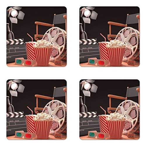 (Ambesonne Movie Theater Coaster Set of Four, Objects of The Film Industry Hollywood Motion Picture Cinematography Concept, Square Hardboard Gloss Coasters for Drinks, Multicolor)