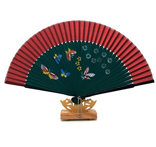 Red 30Pcs Green Bamboo Silk Hand Fans Folding Choice For Wedding Accessories Decoration by Hand Fan