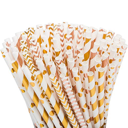 50pcs Premium Biodegradable Paper Straws for Juice, Cocktail, Smoothies, Party Supplies, Birthday, Wedding, Bridal/Baby Shower Decorations and Holiday Celebrations Striped Polka Dot Chevron, 7.75 Inch