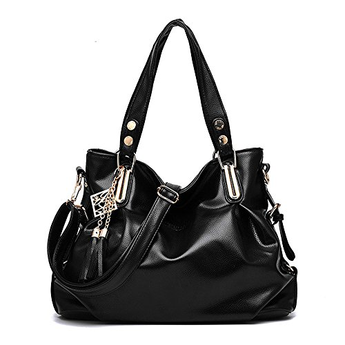 Jieway Women Casual Handbags Shoulder Bags Tote Handbags Bags Purse Satchel (Black) (Cheap Designer Bags)