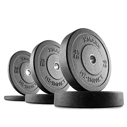Old School Rubber - XMark 160 lb Set Go Green Bumpers, Three-Year Warranty, Hi-Impact Commercial Olympic Bumper Weight Plates, XM-3391