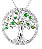 Tree of Life August Birthstone Necklace Created Peridot Jewelry Sterling Silver Birthday gift for her