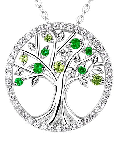 Emerald and Green Peridot The Tree of Life Necklace Jewelry For her Anniversary valentines day Gifts For wife girlfriend Birthstone necklace Pendant Sterling Silver - 20