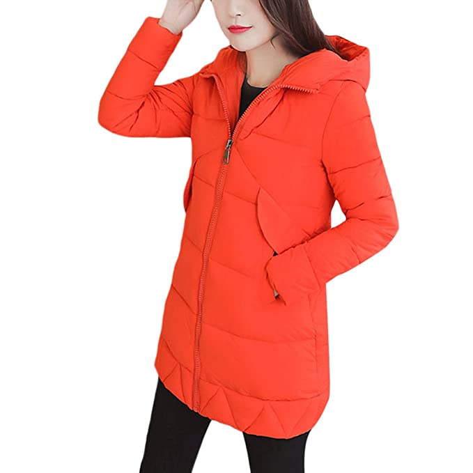 Zhuhaitf Comodos Abrigos de Mujer Casual Comfortable Pocket Long Style Down Coats Slim Zipper Jackets Cotton Dress Coats Warm for Women Ladies: Amazon.es: ...