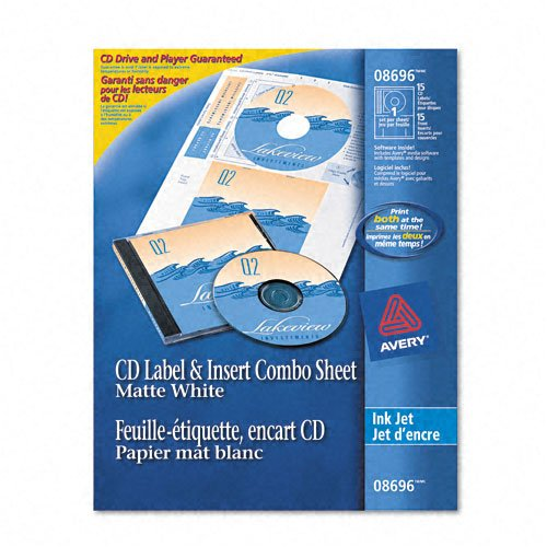 Avery : Inkjet CD/DVD Label/Jewel Case Insert Combo Sheets, 20 each per pack -:- Sold as 2 Packs of - 20 - / - Total of 40 (Jewel Case Inserts Pack)