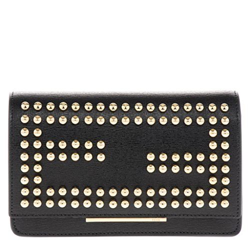 Fendi Women's Mini Gold Studded 'Double F' Logo Flap Bag with Chain Strap Black Gold