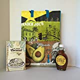 Trader Joe's Toasted Coconut Pancake Mix and Trader Joe's 100% PURE Maple Syrup Bundle Plus a Trader Joe's Reusable Grocery Bag With Southern California Graphics. A Great Breakfast Bundle (3 Items)