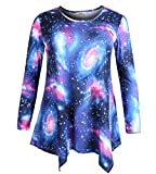 ZERDOCEAN Women's Plus Size Long Sleeve Printed Tunic Flowy Top Loose Fit Shirt 45 3X