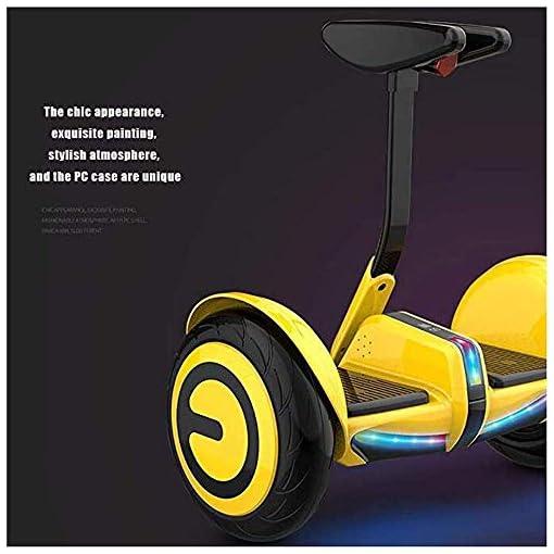 HWZQHJY Hoverboard Deux Roues avec poussée du Corps Rod Induction Hors Route du véhicule 10″ Auto-équilibrage Construire Scooter