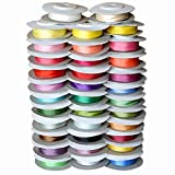 BeesClover Warm Colors,13 mm 1/2'' Wide 100% Pure Mulberry Silk Ribbons for Embroidery Handcrafts Double Faced Thin Silk Trim Lace 5 Rolls Mixed Colors 30 Meter