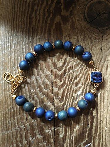 Cobalt Square Beads - Modern Bezel Set Druzy Bracelet - Cobalt Blue Druzy with Matching Cobalt Blue Druzy Beads - Adjustable 7