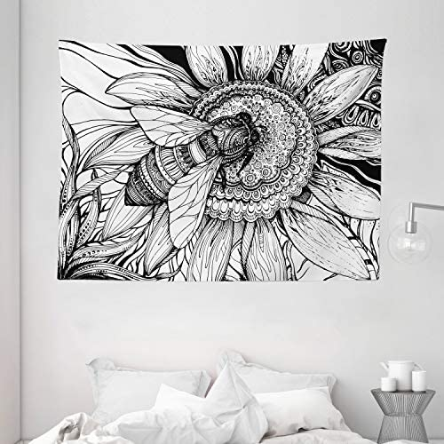 Ambesonne Nature Tapestry, Bee on a Flower Honey Pollen Floral Mother Earth Phase Wildlife Digital Print, Wide Wall Hanging for Bedroom Living Room Dorm, 80 X 60 , White and Black