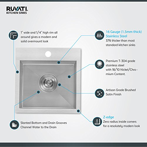Ruvati 15 x 15 inch Drop-in Topmount Bar Prep Sink 16 Gauge Stainless Steel Single Bowl - RVH8115 by Ruvati (Image #1)