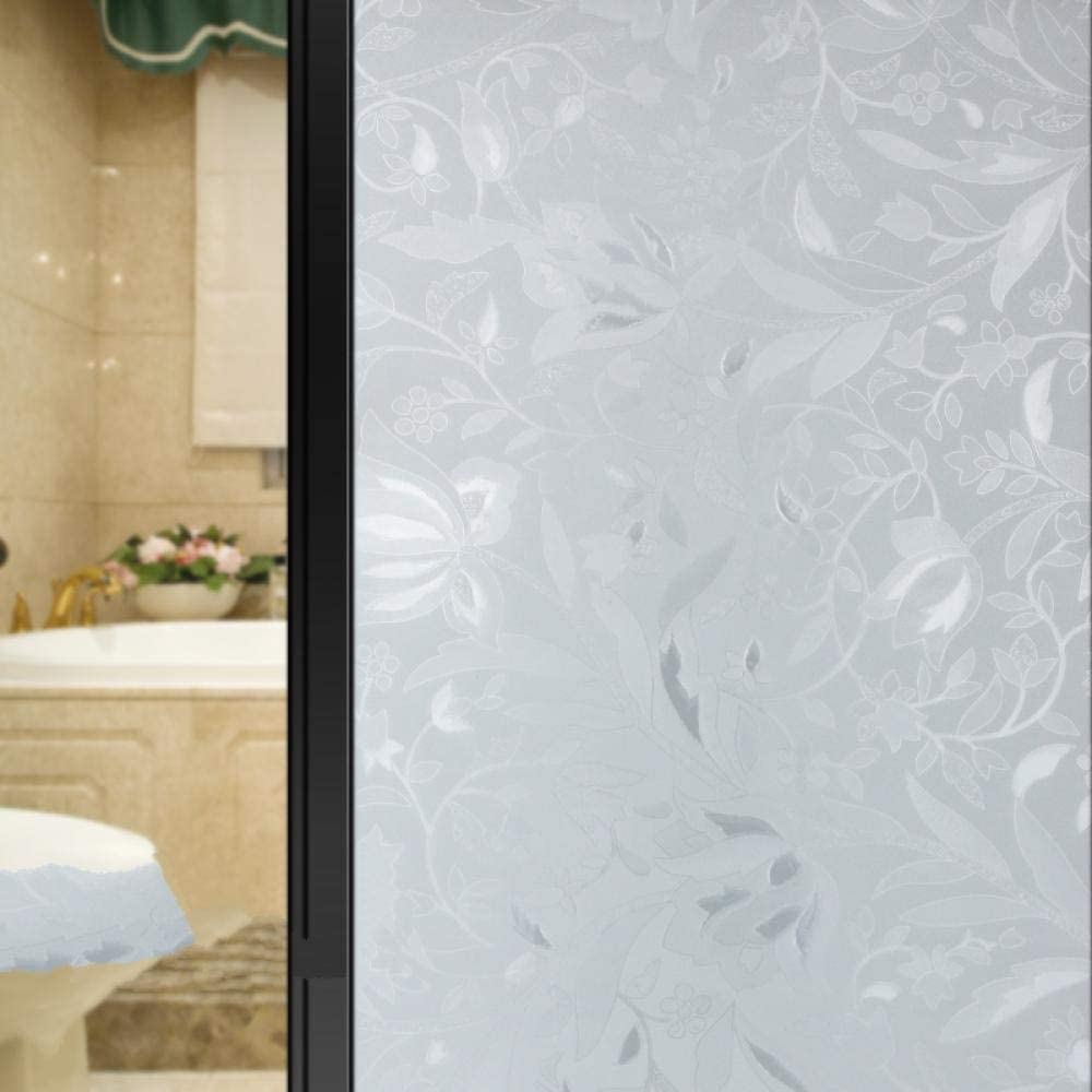 CMHK Película para Ventanas Adhesivo de Vidrio para Ventana Esmerilado sin Pegamento película de Vidrio antipio Transparente para baño translúcido Opaco -300x45cm_b: Amazon.es: Hogar